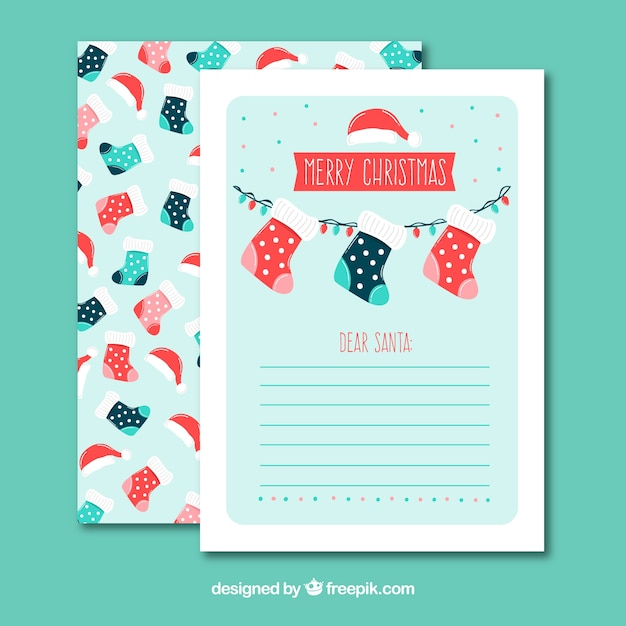 Christmas Letter Template With Socks Free Vector  Christmas Letter Templates