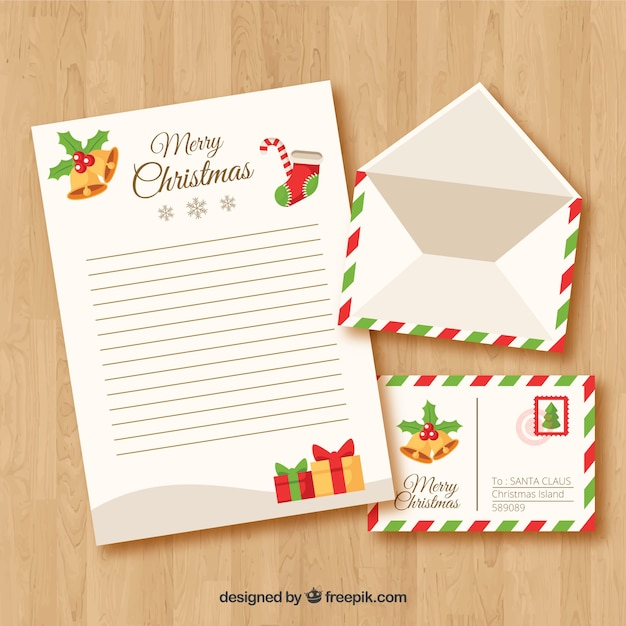 Christmas letter template Free Vector