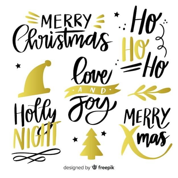 Коллекция рождественских надписей Бесплатные векторы