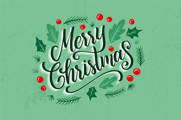 Christmas lettering on christmas photo Free Vector