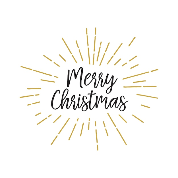 Christmas lettering in lights Free Vector