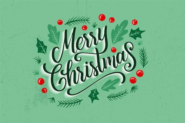 クリスマス写真のクリスマスレタリング 無料ベクター