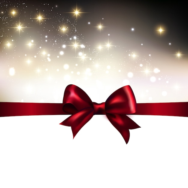 Christmas light background with ribbon Premium Vector