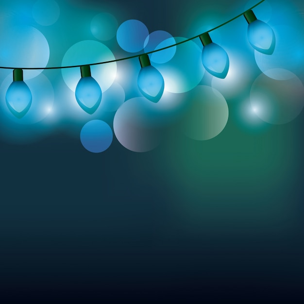 Christmas lights background Premium Vector