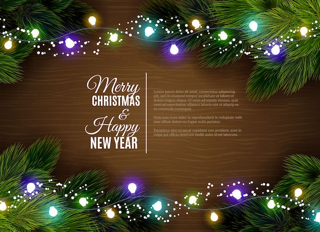 Christmas lights borger decoration season greetings Free Vector