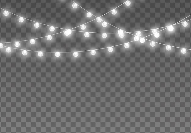 クリスマスライトが輝く花輪 Premiumベクター