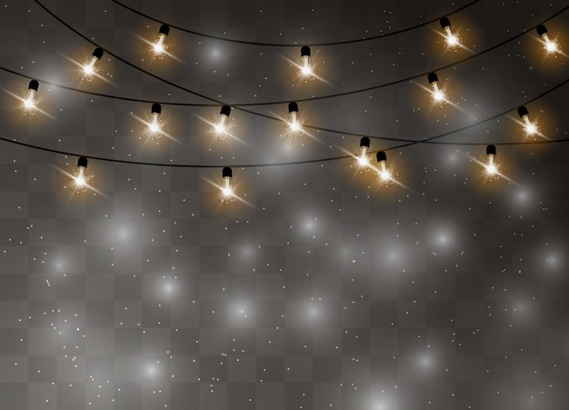 Christmas lights isolated realistic design elements. glowing lights garlands decorations.   illustration. Premium Vector