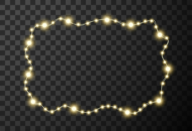 Christmas lights isolated on transparent background Premium Vector