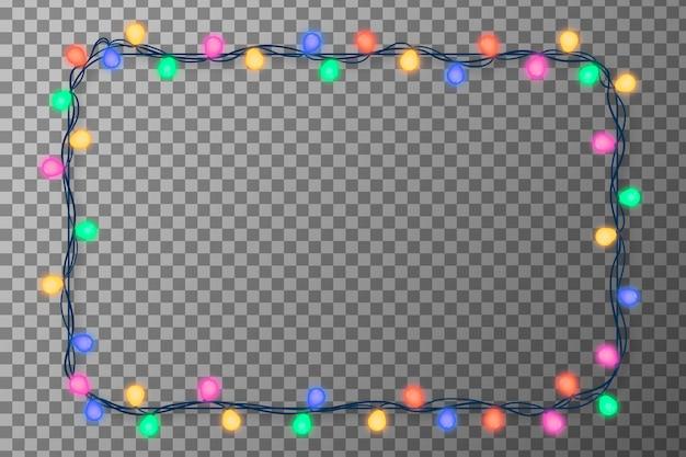 Christmas lights realistic frame Free Vector