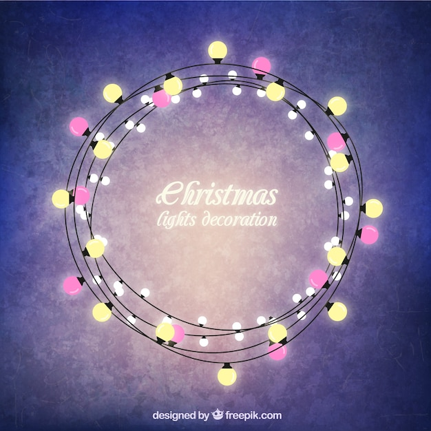 christmas lights round frame free vector