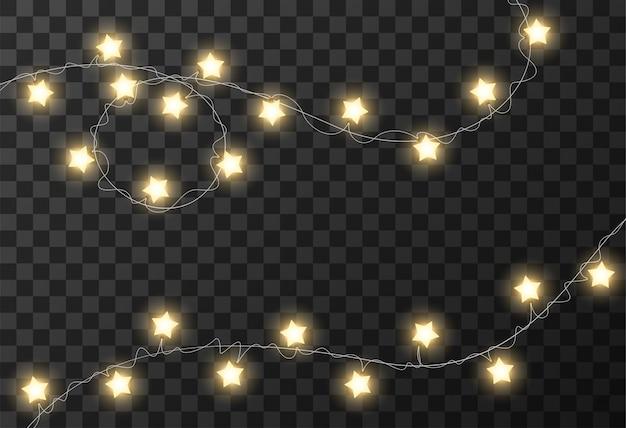 Christmas Lights Transparent Background Vector Premium
