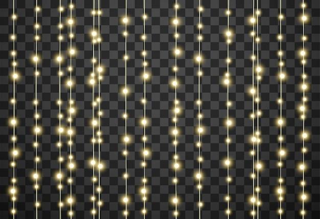 Christmas lights on transparent background Premium Vector