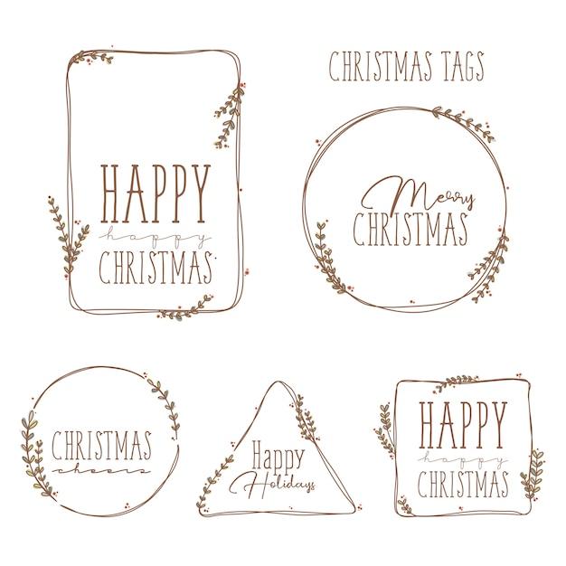 Christmas little tags Premium Vector