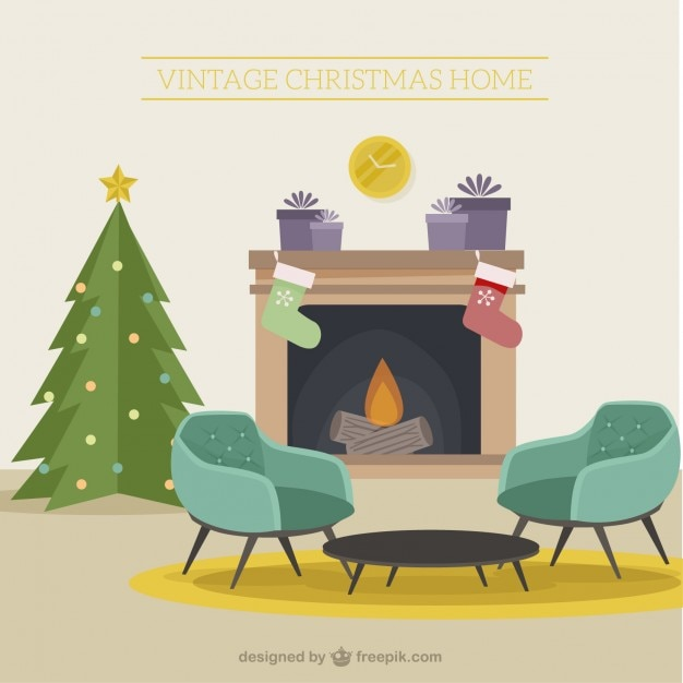 Wohnzimmer Dekoration Vintage: Christmas Living Room Decoration In Vintage Style Vector