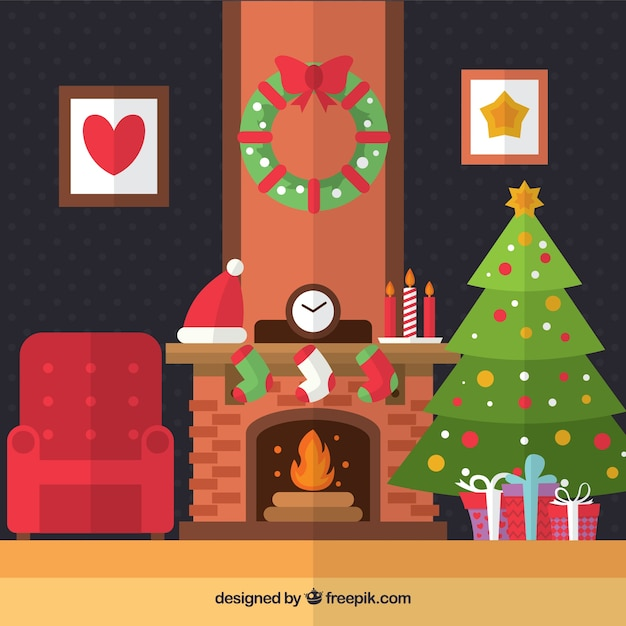 Christmas living room in flat design vector free download for Room design vector