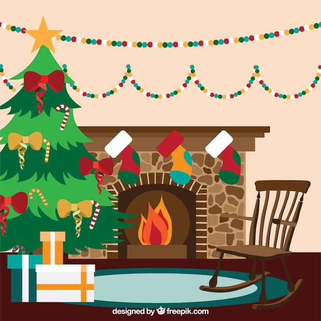 Christmas Living Room Interior With A Fireplace Vector Free Download