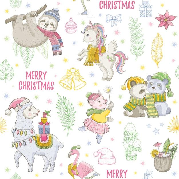 クリスマスラマ、ナマケモノ、ユニコーンパンダ、フラミンゴのシームレスなパターン。かわいい動物を落書き、クリスマススケッチ Premiumベクター
