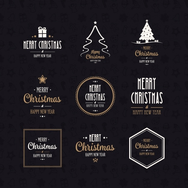 Christmas logos collection Free Vector