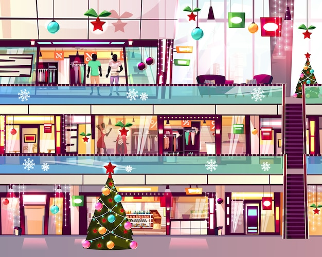 Christmas mall shops illustration of boutiques and xmas tree at escalator staircase. Free Vector