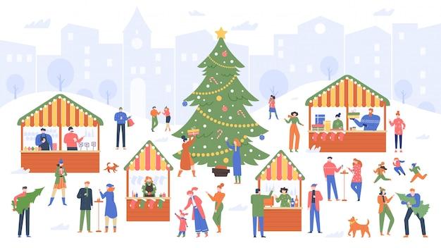 Рождественский магазин. ярмарка праздника, люди шаржа идя на украшенные напольные киоски и покупая иллюстрацию вина, еды и сувениров рождества красочную. новогодняя ярмарка, зимние украшения Premium векторы