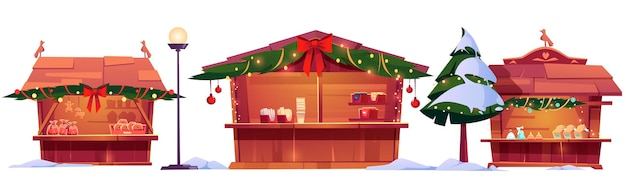 Christmas market stalls, street fair wooden booths decorated with fir-tree branches Free Vector