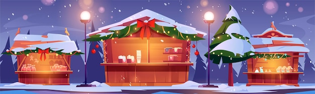 Christmas market stalls, winter street fair with wooden booths decorated with fir-tree branches and lighting garlands Free Vector