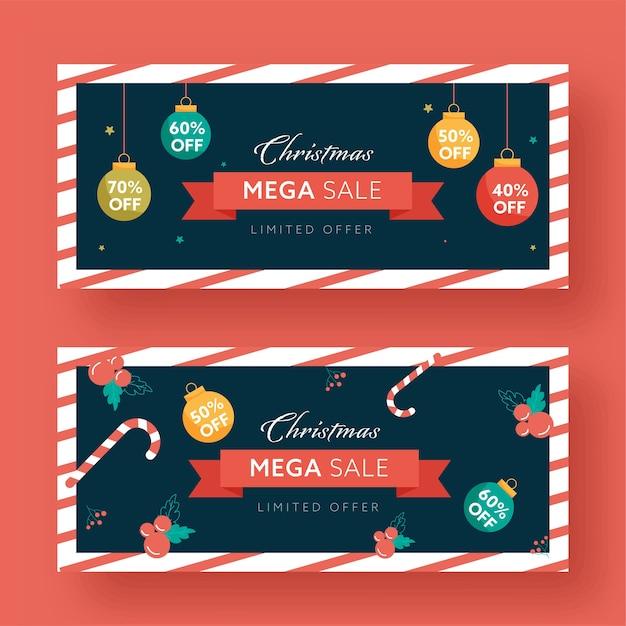 Рождественские мега-продажи заголовок или набор баннеров Premium векторы