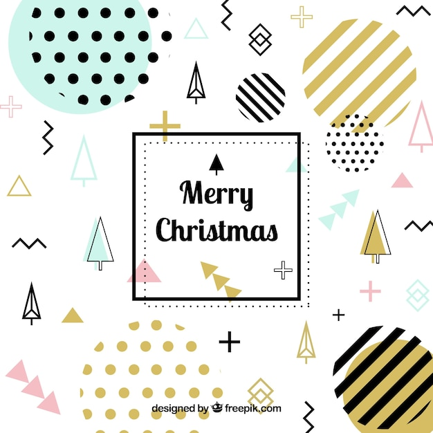 Christmas memphis background with golden elements Free Vector
