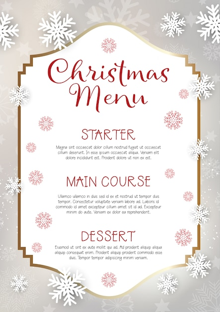 christmas menu design background vector free download