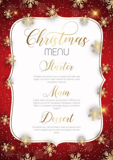 Christmas menu design Free Vector