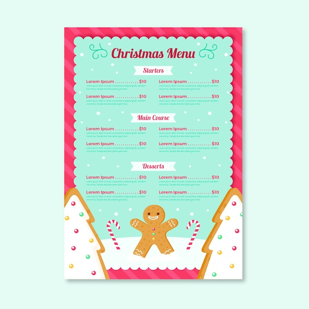 Christmas menu template in flat design Free Vector