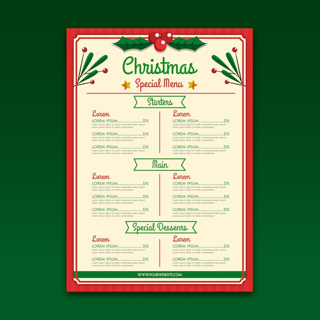 Christmas menu template in flat design Free Vector