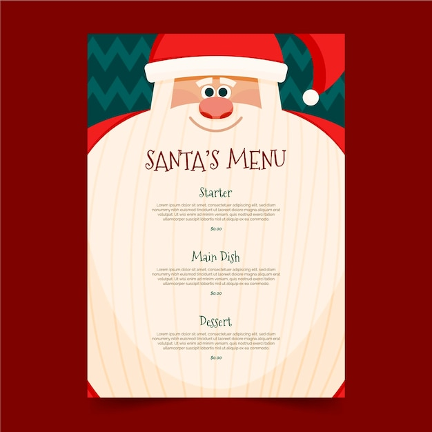 Christmas menu template in flat design Premium Vector