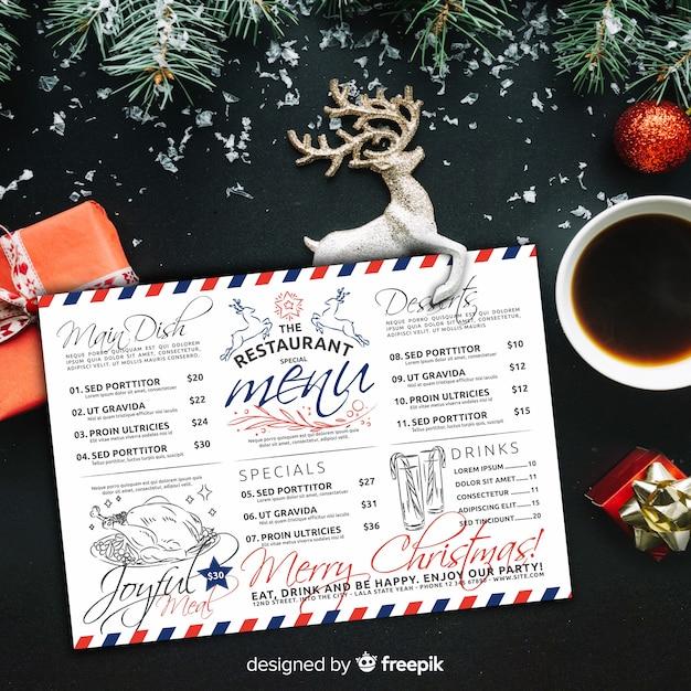 Christmas menu template in vintage style