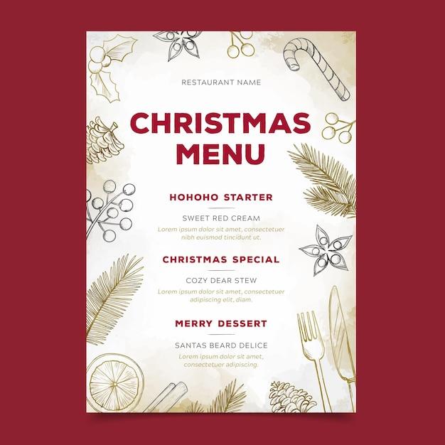Рождественский шаблон меню в акварели Premium векторы