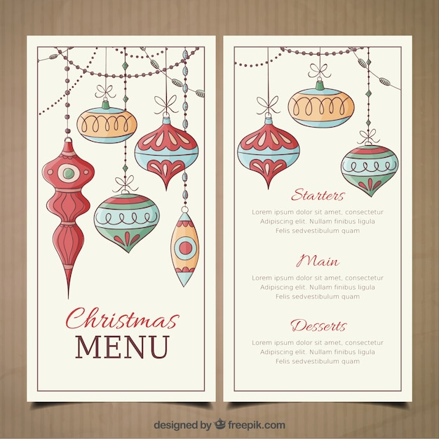 Christmas menu template with hand drawn baubles vector premium christmas menu template with hand drawn baubles premium vector pronofoot35fo Image collections