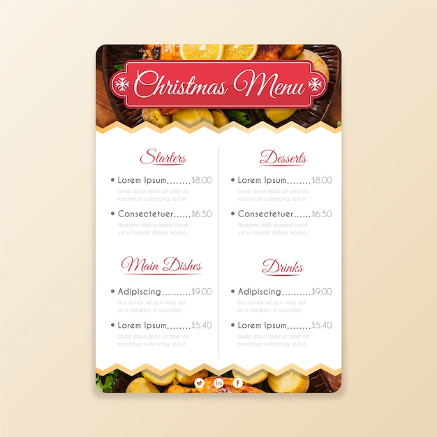 Christmas menu template with image Free Vector