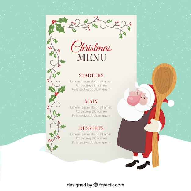 Christmas Menu Template With Mistletoe Decoration Vector | Premium
