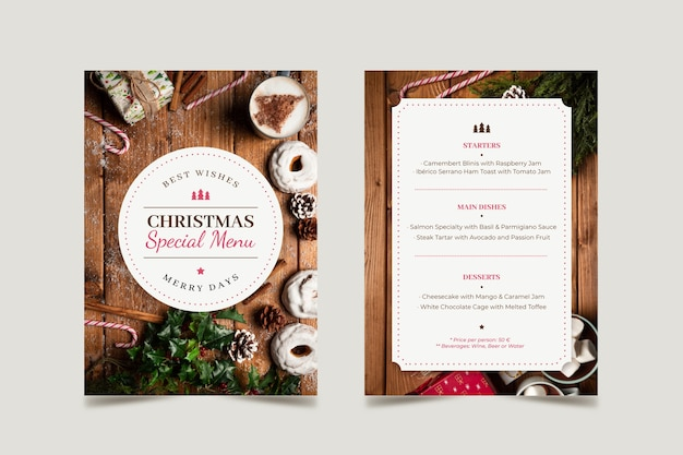 Christmas menu template with photo set Free Vector