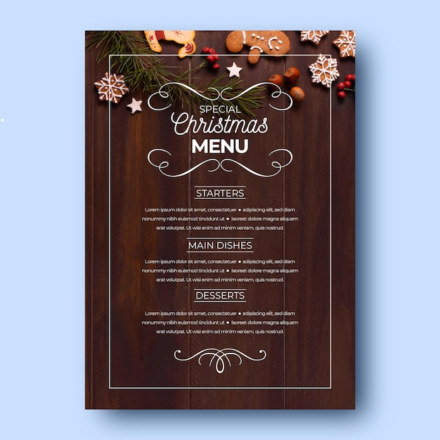 Christmas menu template with photo Premium Vector