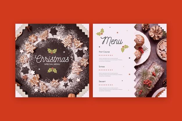 Modello di menu di natale con foto Vettore gratuito