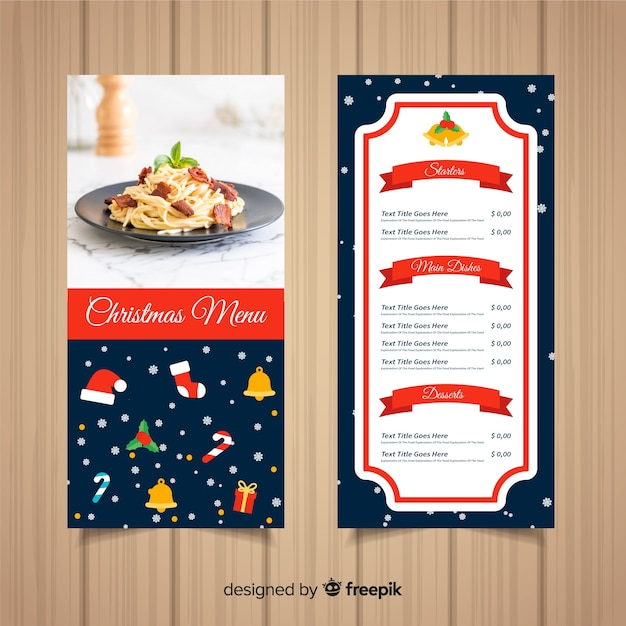 Christmas menu template with photography Free Vector