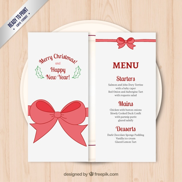 Good Christmas Menu Template Free Vector  Free Xmas Menu Templates