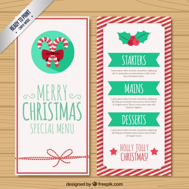 Attractive Christmas Menu Template Free Vector On Free Xmas Menu Templates