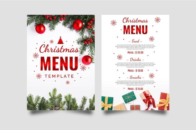 Рождественский шаблон меню Бесплатные векторы