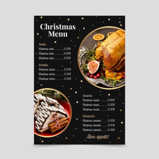 Christmas menu template Free Vector