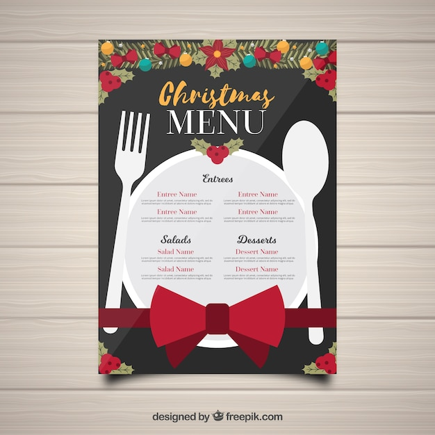 Christmas menu with dish and cutlery Free Vector