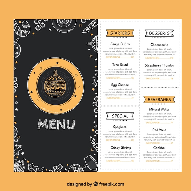 Christmas menu with drawings Free Vector