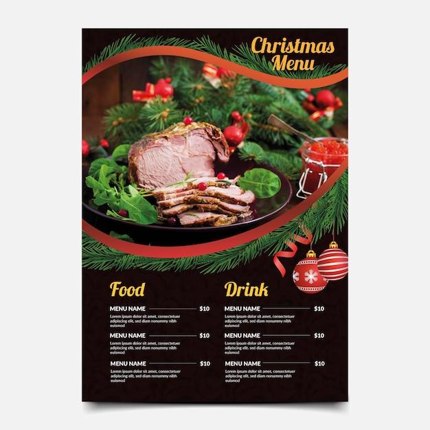 Рождественское меню с шаблоном выбора еды Бесплатные векторы