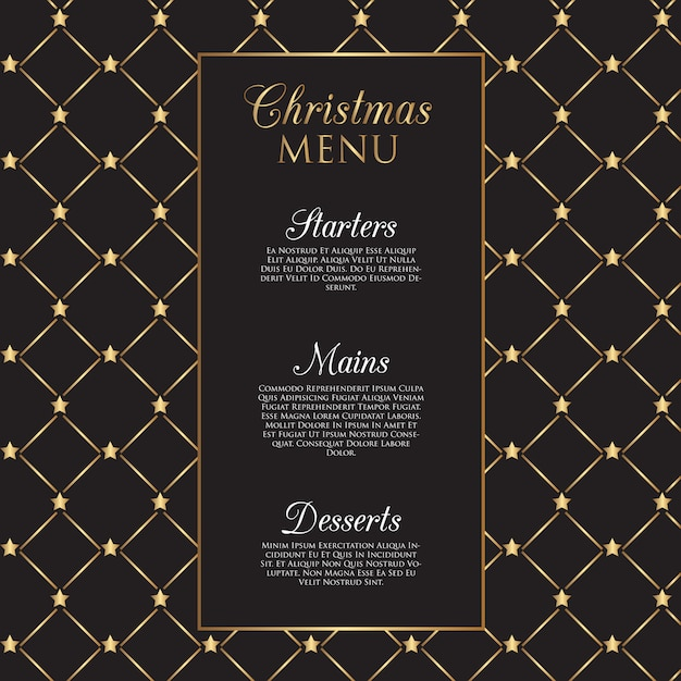Christmas menu  with gold stars Free Vector